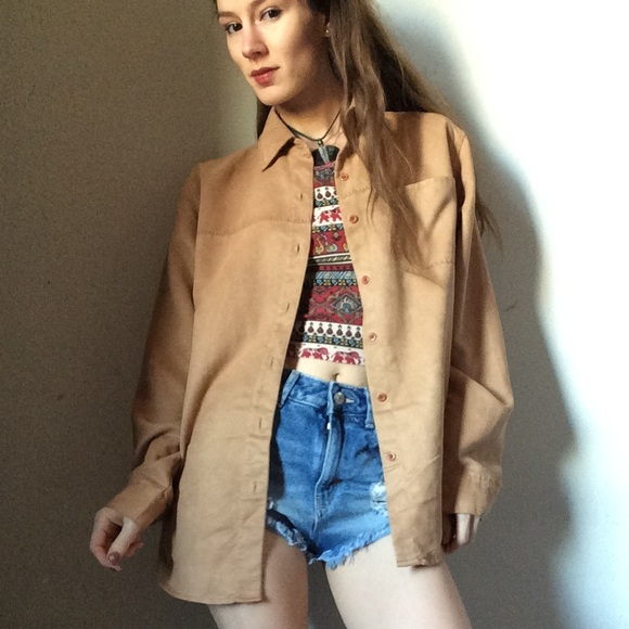 Vintage Tops - SOLD CHEROKEE Suede-Like Soft Button Cover